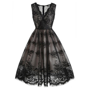 Black Vintage Steampunk Gothic Dress Summer Casual Party Dresses Women Sleeveless Sexy V Neck 50s Retro Lace Pin Up Swing Dress