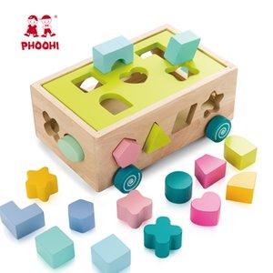 Holzblock Spielzeug-Kind-Pushing-Form Spiel Puzzle-Auto-Spielzeug-pädagogisches Spielzeug für Baby PHOOHI CX200820