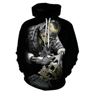 BIAOLUN Komik Kafatası Kapüşonlular 3D Kapüşonlular Erkekler Kadınlar Tişörtü Unisex Tracksuits Moda Günlük Streetwear Kapşonlu Marka Kazak MX200813