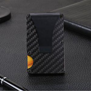 Venda quente cartão de fibra de carbono Wallet Titular, Metal Money Clip Magro Wallet, RFID bloqueio carteira minimalista Non-scan por Homens
