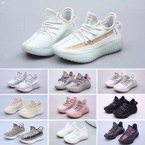 Adidas Yeezy 350 V2 Scarpe Ragazzi Ragazze Giallo Nucleo neri Pattini di sport dei bambini delle scarpe da tennis del bambino per regalo di compleanno superiore bambini che corrono