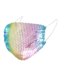 Fashion Mesh Masks Colorful Bling Diamond Mask Rhinestone Grid Net Mask Washable Personalized Night Market Sexy Hollow Mask