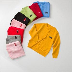 Pulls Enfants Mode Enfants Casual Solid Color Cardigan manches longues Garçons Filles à la mode Cardigans tricotés avec coeur yeux broderie