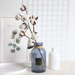 المجفف طبيعيا النباتات القطن الزهور الاصطناعية فرع الزهور لحفل زفاف الديكور وهمية الزهور الاصطناعية ديكور المنزل