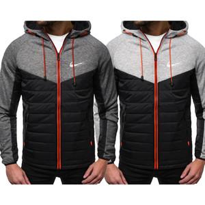 Moda con capucha de la chaqueta empalmado Impreso Hombres sudaderas con capucha capa ocasional de la ropa con capucha Cardigan Plus Fleece S-2XL Marca