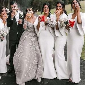 Dubai Arabic Mermaid Bridesmaid Dresses Deep V Neck Backless Backless Half Sleeves Wedding Guest Gowns Maid of Honor Dress vestidos de novia