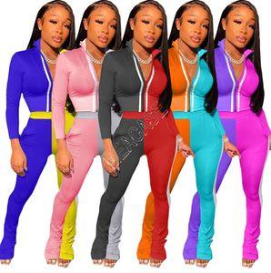 Los diseñadores mujeres constrast color mono del remiendo de la cremallera chaquetas de cultivos capa superior reflectante raya de los pantalones del chándal de dos equipos Piezas D9107