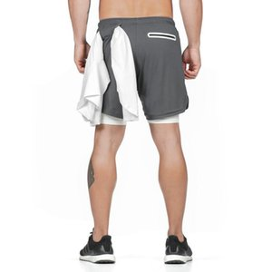 """Con 2 en 1 Pantalones cortos de toallas de lazo de los hombres de Entrenamiento Running Training 7"""" Short forrado con bolsillos Y200901"""