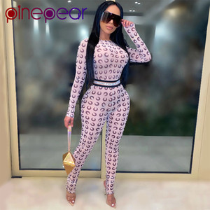 PinePear See durch Netz Crescent Moon Druck Strampler Frauen Overall Langarm Sexy Party Club Fashion Outfits Drop T200810