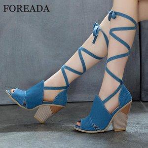 FOREADA Mulher Sandals Peep Toe extrema Salto Alto Denim Cruz Strap estilo estranho sapatos de salto Sandals Lace Up partido senhoras 34-43