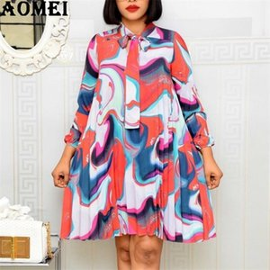 Women Printed Pleated Dresses Long Sleeve Loose with Bowtie Collar Loose Female Vestidos African Fashion Summer Robes Large Size0921