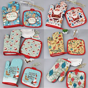 Christmas Insulation Mat Gloves Set Xmas Oven Cotton Gloves 26cm*16cm Santa Gloves Christmas Heat Resistant Cotton Glove