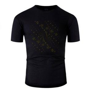 Costumbre cómico de partículas de oro remolinos de la camiseta masculina femenina 2020 del ejército Carta verde camiseta 100% algodón lema hip hop