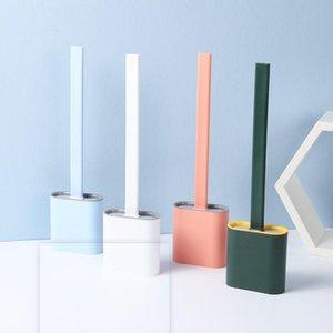 Silicone WC Brosses à tête plate souple et flexible Soies Brosse murale sans couture Porte-toilettes séchage rapide Clearing Titulaire LSK1363