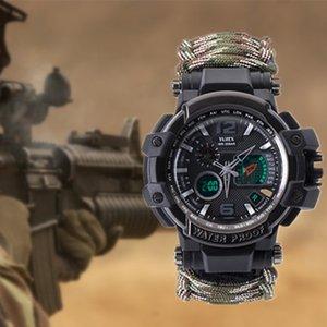 Выживание Оборудование Многофункциональный Military Tactical Paracord Часы браслет Отдых Туризм Emergency Выжить Шестерня