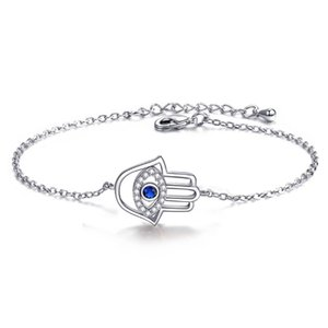 18K White Rose Gold Plated CZ Cluster Blue Evil Eye Hand of Fatima Rolo Chain Bracelet Fashion Jewelry for Party Wedding