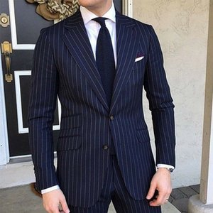Pinstripe Slim fit Men Suits for Formal Wedding Tuxedo Notched Lapel 2 piece Navy Blue Striped Business Groom Suit Male Fashion