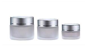 5 г 10г 15г 20г 30г 50г матовое стекло Косметические Jar Слейте Крем для лица Бальзам для губ Контейнер для хранения Refillable Образец бутылки с серебряной Lids