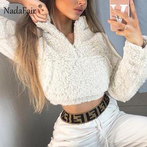 Nadafair manga comprida recortada Hoodie Mulheres Casual outono inverno curto camisola Sólidos bolso Plush Faux Fur Moletons Feminino