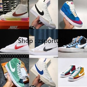 2020 nike SB BlazerS Mid 77 VNTG Suede Mix Vintage Rainbow Gradient Laser Wrong Hook Colorful red green stitching Shoes CZ8653-036