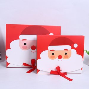 Christmas Gift Box Sweets Packaging Cookie Paper Boxes With Bow Santa Claus Decoration Wrapping Candy For Kids Party DHL Free GWF2099