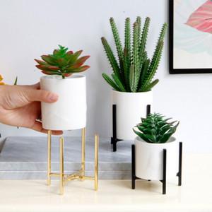 Einfache und moderne Keramik Sukkulente Topfhaupt Dekoration Nordic Desktop-Keramik-Blumentopf mit Metallhalterung EEA1902