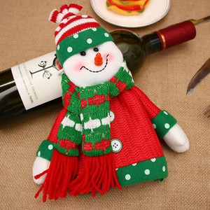 Deer Santa Claus Wine Covers with Scarf Hats Fashion Christmas Decorations Button Accessories Festival Party Supplies Bottle Bags Sets