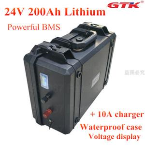 24V 200AH литий-ионный аккумулятор Solaire NMC аккумуляторный 24v 200AH BMS Система RV EV инвертор водонепроницаемый корпус + 10A зарядное устройство