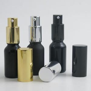 10 x 20ml Frosted Black Bright Black Glass Lotion Pump Travel Portable Bottle 20cc Lotion Pump Glass Bottle Cream