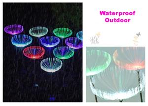 잔디 램프 야외 LED 해파리 광섬유 다채로운 태양 빛 레스토랑 홈 정원 장식 웨딩 파티 방수 IP65 10PCS