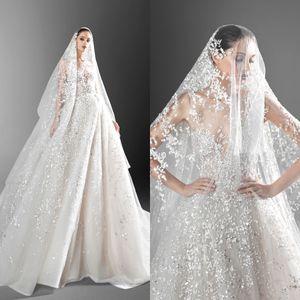 New Design Wedding Dresses A Line Lace Applique Sequins vestido de novia Scoop Sweep Train with Veil Bridal Gowns Robe