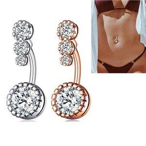 Нержавеющая сталь кольцо алмаз живот аллергии бесплатно Циркон Navel Bell Button Кольца Sexy Мода ювелирные изделия женщин ювелирные изделия тела