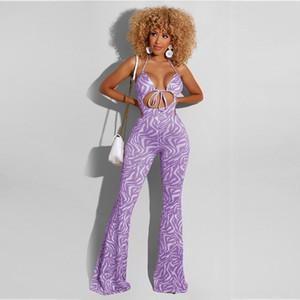 b04yS Kadın Yaz 2020 yeni Sling Vücut giysi beden elbise moda kolsuz sapan baskılı ebeveyn-çocuk takım elbise tulum