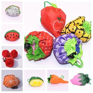 new Cartoon fruit folding bag shopping bag fashion protection handbag polyester Storage bag Kitchen storage T2D5074
