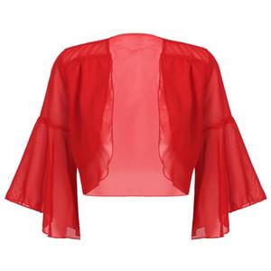 Womens dama Moda Malha Shrug alargamento mangas em camadas frente aberta Bolero Shrug Shawl recortada Chiffon Cardigan Top Cover Ups