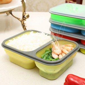 De silicona plegable portátil caja de Bento 2 células de microonda tazón plegable del almacenaje del alimento envase del almuerzo Lunchbox 60pcs OOA2172 OYVg #