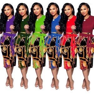Getäfelten Bogen-Gurt-Frauen-Kleid-Entwerfer Split Mittel Länge Weibliche Kleidung Zipper Print Damen beiläufige Kleider Schlank