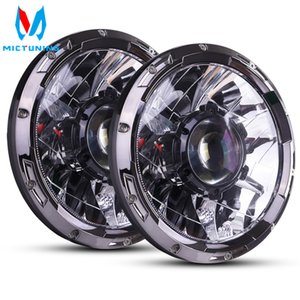 MICTUNING 7 Inch Upgrade LED Driving Headlight with Laser Light Beam 6000K Hyperspot Combo for Vehicle Motorcycle Boat RV