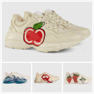 caixa original Trainers Rhyton Sapatilhas Luxo Lábios Clássico Do-velhos Designer Homem Mulher maçã Worldwide Dorky Shoes pai de couro