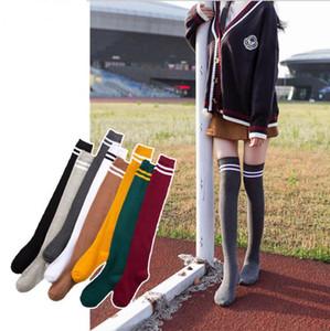 Femmes genou Chaussettes fille rayé genou chaud Tube pur coton de couleur bonbons Bas longues chaussettes Femme Automne Leggings DHF848