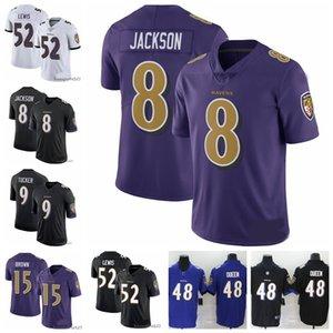 Erkekler BaltimoreRavensjersey 8 Lamar Jackson 9 Justin Tucker 48 Patrick Kraliçe III 52 Ray Lewis Futbol Formalar Siyah 0901