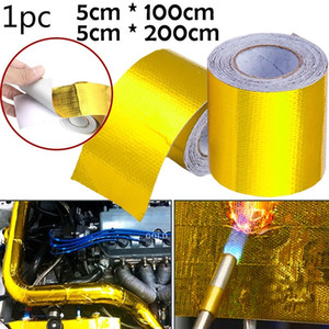 Gold Car Thermal Exhaust Tape Air Intake Heat Insulation Shield Wrap Reflective Heat Barrier Self Adhesive Engine Universal 1 2M