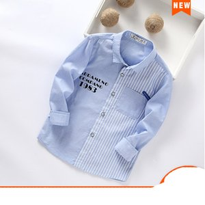 2020 spring summer Letter 100%Cotton Full Sleeve Boys Shirt 3T-12T Kid Casual School Clothes