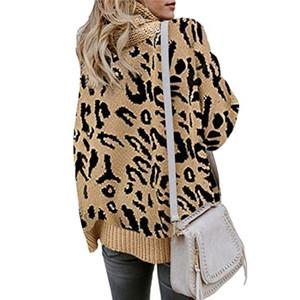 Turtle Mulheres Leopard Neck Sweater Outono manga comprida dividida camisola soltos Malhas das senhoras