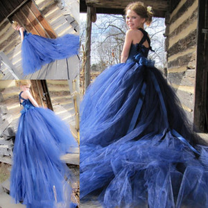 Royal Blue Flower Girls' Dresses Straps Tulle Sweep Train Sash Bow Princess Birthday Party Ball Gowns Little Girls Pageant Dresses AL7144