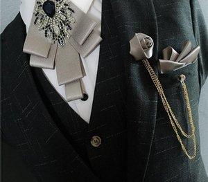 Yeni Moda Cep havlu Koreli papyon Erkek damat düğün altın elmas göğüs düğüm Gelinlik yaka çiçeği papyon tören