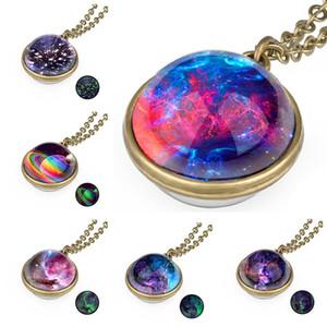 Raum-Universum-Anhänger Glow in the dark Halskette Sky Glaskugel leuchtenden Sternenhimmel Halsketten Frauen Mädchen Modeschmuck