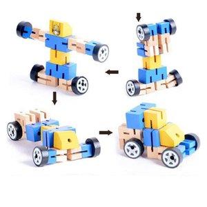 Transformación niños Robot Building Blocks juguetes de madera para niños Autobot figura modelo del rompecabezas regalos de Inteligencia juguete de aprendizaje Sí