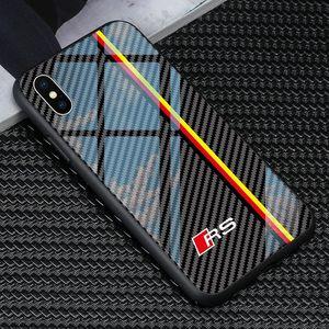 아이폰 11 프로 최대 XS XR 365 6 6S 8 플러스 삼성 S8 S9 S10 S20 플러스 E 노트 8 9 무료 배송 강화 유리 아우디 자동차 RS 로고 전화 케이스
