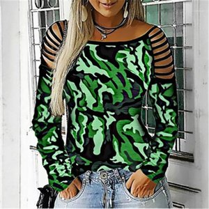 T-shirts Fashion Trend Long Sleeve Crew Neck Camouflage Print Tee Designer New Female Casual Loose Tops Tshirts Ladies Strapless Bandage